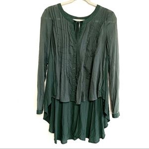 Free People Button Up Pleated High Low Boho Top